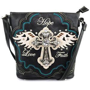 Justin West Angel Wing Cross Faith Love Hope Conceal Carry Purse Handbag