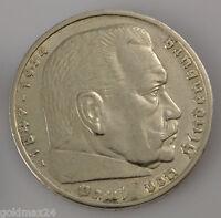 Drittes Reich 5 Reichsmark Silbermünze 1936 A - Paul von Hindenburg