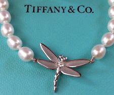 TIFFANY & CO 18kt 18k White Gold Diamond Pearl DRAGONFLY Bracelet NEW
