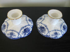 Pair of Shelley China Dainty Blue Basket Festoon Candlesticks