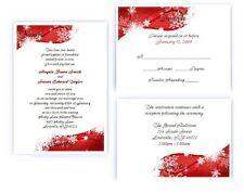 100 Personalized Custom Winter Red Snowflake Bridal Wedding Invitations Set