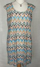 PRASLIN/PIPPA DEE ZIG ZAG SLEEVELESS FULLY LINED SHIFT DRESS UK 8 NEW