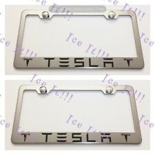 2X TESLA With Logos Stainless Steel License Plate Frame Rust Free W/ Caps