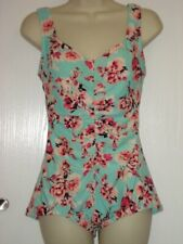 Maxine of Hollywood 10 mint & floral one piece whole piece swimsuit