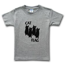 Black Flag Tshirt Cat Flag Tee Shirt Death Metal Rock Punk Music Funny Top New