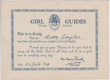 Girl Guides 1948 Western Australia certificate Betty Taylor signed Baden Powell
