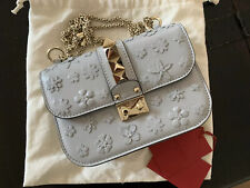 Valentino Small Glam Lock Floral Applique Shoulder Grey Leather Cross Body Bag