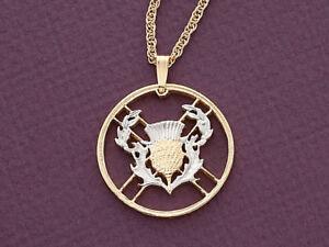 "Scotland Thistle Pendant Hand cut Scotland Thistle Coin ,1 1/8"" diameter ( # 138"