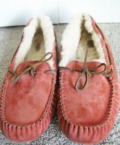 Women's Ugg Dakota Moccasin Slippers, Size12, Red Orange