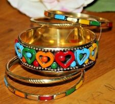 Armreifen Set Armband Armreif indischer Schmuck Bollywood Messing-Bunte Steine
