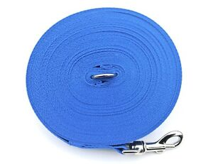 50ft 15m Long Dog Training Lead Obedience Recall Leash Large 25mm In Royal Blue