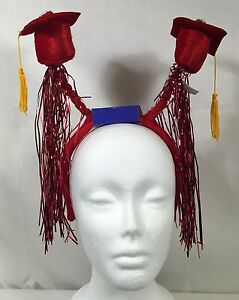 Red Graduation Caps Headband Boppers Fringe Tassels Party Accessory Halloween