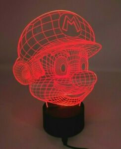 Engraved Acrylic 3D Mario Head Multicolor Lamp Light Video Game Merchandise EUC