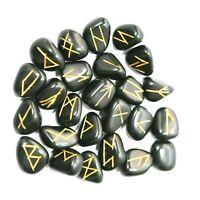 Tourmaline Natural Rune Set Stones Hand Engraved Black Crystal Healing 25 Pcs