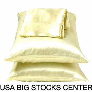 2 Standard / Queen size SATIN Pillow Cases / Covers Dark Beige Color - Brand New
