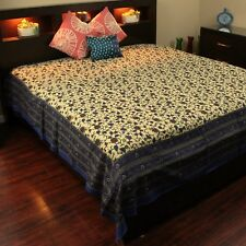 Cotton Floral Buti Print Tapestry Wall Hanging Bedspread Beach Sheet Blue Queen