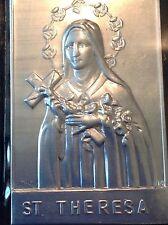 St THERESE Silver Metal Saint Plaque Folder Pocket Catholic SHRINE Travel 2.5x4