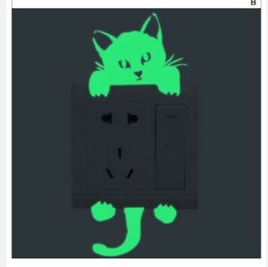 GLOW IN THE DARK CAT SHAPED LIGHT SWITCH WALL DECAL TWO PART STICKER (BRAND NEW)