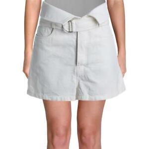 IRO Womens Pezarti Ivory Denim Button Fly Paperbag Shorts 40  2857