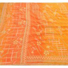 Sanskriti Vintage Saree Pure Crepe Silk Hand Embroidered Craft Fabric Kantha Pre