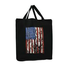 New listing Black Cotton Twill Grocery Tote with Rugged American Flag Travel Beach Bag Usa
