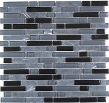 Mosaic Tiles Grey & Black Glass & Stone Brick Shape Walls Shower Bathroom MT0019