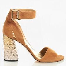 Stuart Weitzman EUR 37.5/US 7.5 Women's Suede Glitter Block Heels