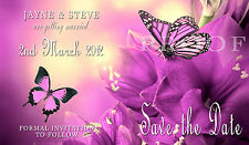 Wedding Save the Date Cards with Envelopes x 20 Purple Butterfly H0183