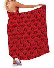 15a3baf921a72 RED ROSE DESIGN CHIFFON SARONG SWIMWEAR BEACH COVER UP WRAP X-LARGE 5X7 FT