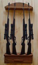 Gun Rack 4-gun vertical Wall Display solid oak ammo cabinet