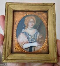 Beau Cadre Miniature sous verre Portrait femme et singe signé ASHFIELD 1634 ?