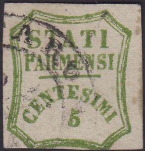 * PP56 Governo Provvisorio di Parma c.5 verde giallo (13) usato annullo origin.
