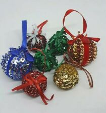 Stunning Job Lot 7 Handmade Sequin Christmas Tree Baubles Decorations