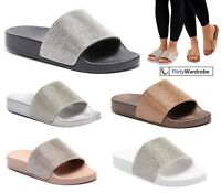 Sliders Sparkle Diamante Slippers Flip Flop Rubber Shoe Slip On UK Womens Ladies
