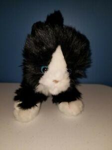 """Toys R Us Tuxedo Black White Kitty Blue Eyes Cat Kitten 10"""" Plush t4"""
