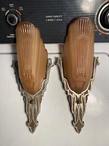 1930's Art Deco Slip Shade Sconces - RARE Amber Shades