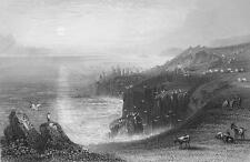ENGLAND Land's End in Cornwall - 1860s Engraving Print