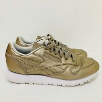 REEBOK Classics Gold All Leather Metallic Trainers Casual Weekend Glam Size 5 38