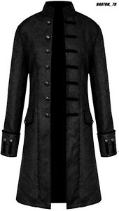 Men Victorian Frock Coat Steampunk Tailcoat Long Jacket Vamp Gothic Retro Casual