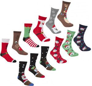 New Women's Men's 3 Pack Christmas Festive Santa Reindeer Elf Design Socks