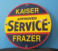 VINTAGE KAISER FRAZER PORCELAIN AMERICAN AUTOMOBILE GAS SERVICE STATION SIGN