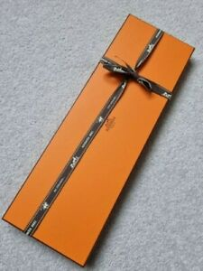 HERMÈS Orange Tie Rectangular Box (Empty) With Tissue and Ribbon