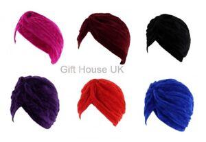 Stretchy Ladies Turban Plain/Velvet Pleated Headband Hair cover Chemo Cloche