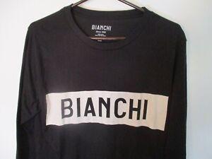 Classic Medium Black & White BIANCHI Road Bike Long-Sleeve Pullover T-Shirt