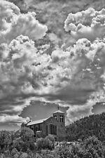 Black,White,Photo,Church,Saint,Joseph,Apache,Mescalero,New Mexico,indian,clouds