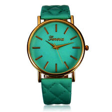 UK Seller Cool Gift Womens GREEN & Gold Quartz Dress Watch Quilted Strap