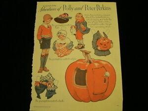 1934 Adventures of Polly & Peter Perkins Halloween Pumpkin UNCUT PAPER DOLL A42A