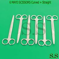 """6 ASRTD MAYO DISSECTING SCISSORS 6.75"""" Curved + Straight SURGICAL instruments"""