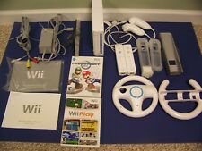 Nintendo Wii White Console w/ Mariokart & WiiPlay + 2 controllers & wheels, NICE