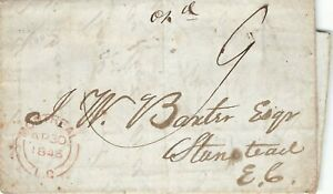 "Canada Stampless Cover. Paid ""9"" Montreal L.C. To Stanstead 1846"